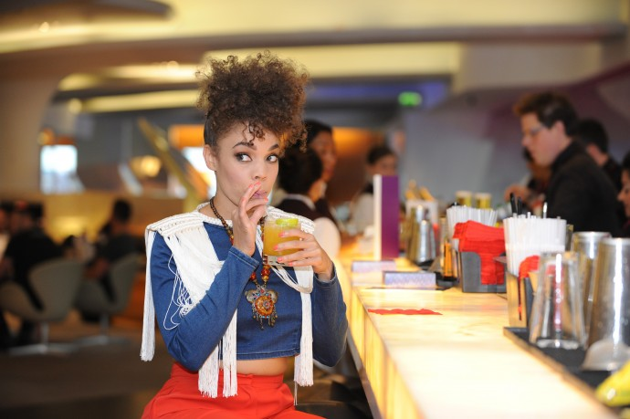 Andreya Triana in the Virgin Atlantic London Heathrow Clubhouse