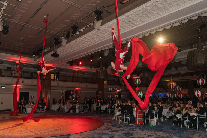 Aerial ribbon acrobats London Photography